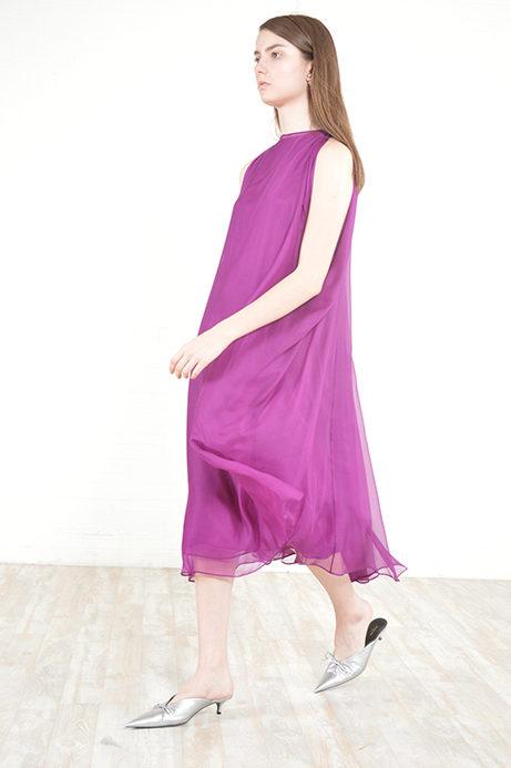664a4af2dbc violet silk chiffon Yves Saint Laurent dress - circa 90s - THRIFTWARES